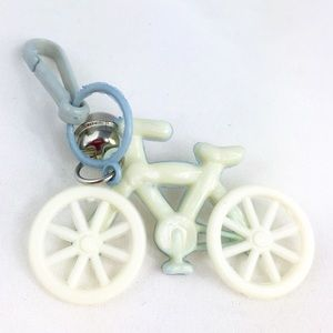 Vintage 80s Plastic Bell Charm Pale Blue Bicycle